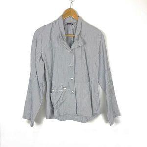 Animale France Jacket Shirt Size 8 Blue White
